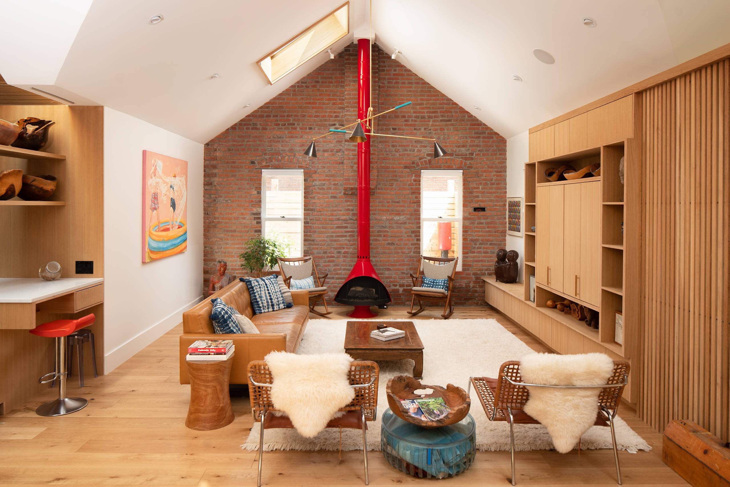 Idee Deco Couloir Moderne 75 beautiful mid-century modern family room with a wood