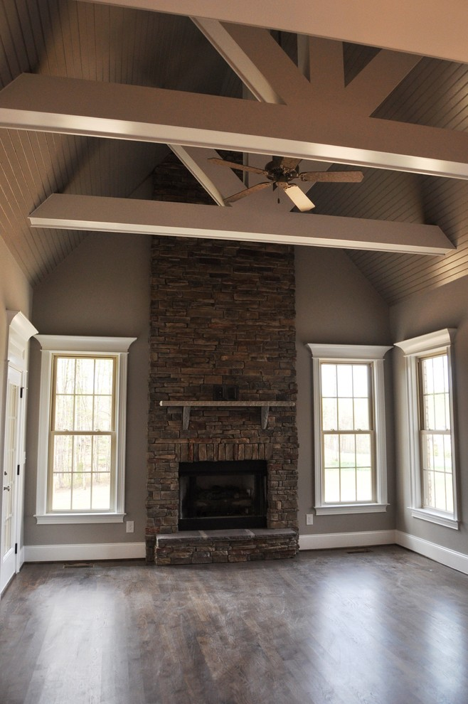 Inspiration for a transitional family room remodel in Raleigh