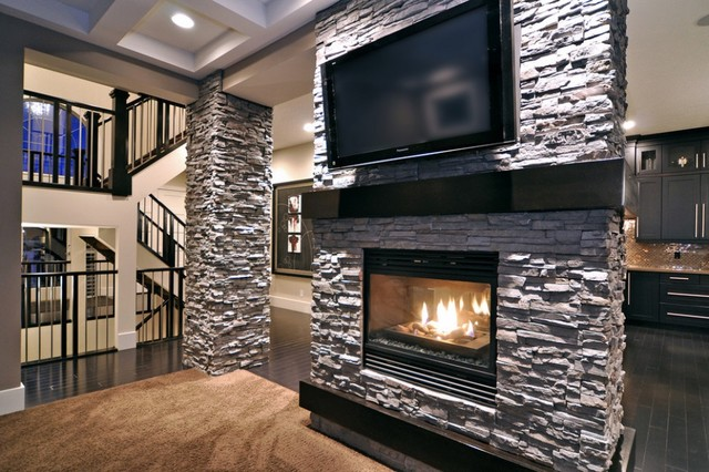Stacked Stone Fireplace Contemporary Family Room By