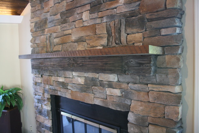 Stacked Stone Fireplace - Traditional - Family Room - New York ...