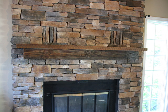 Stacked Stone Fireplace Traditional Family Room