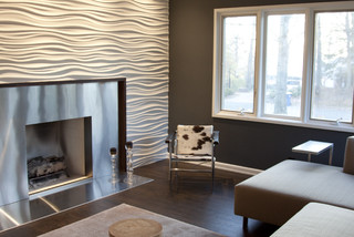 Stainless Steel Fireplace and modularArts wall modern media room