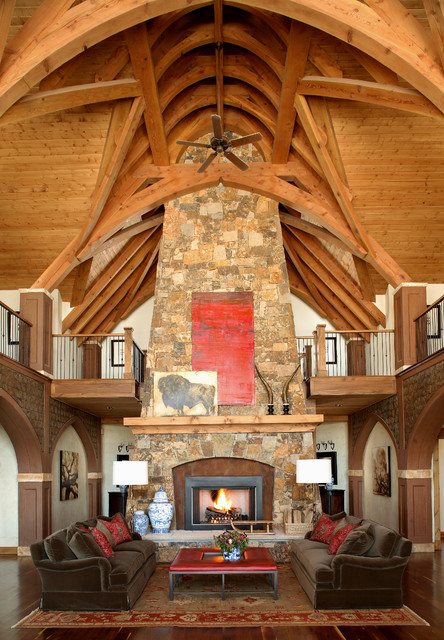 Steamboat springs mountain house rustic family room - Interior design colorado springs ...