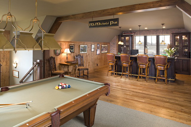 Rec room pub farmhouse family room minneapolis for House plans with game room