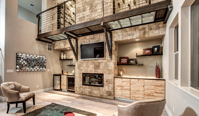 Stone Accent Wall Contemporary Family Room By