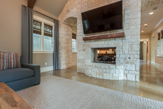Stone Feature Wall & Fireplace - Transitional - Family & Games ...