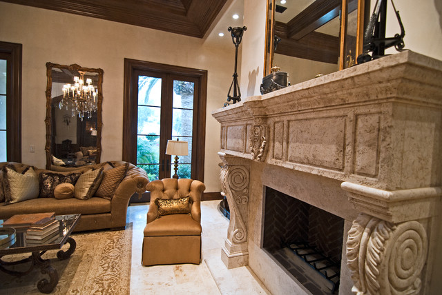 Stone Fireplace Mantels family-room