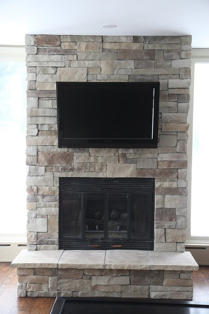 Stone Fireplaces And Tvs Traditional Family Room