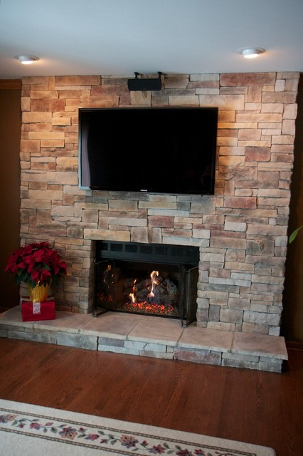 Stone Fireplaces and TVs - Traditional - Family Room ...