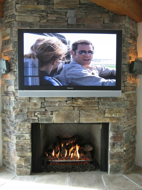 Stone Fireplaces And TVs Traditional Family Room Part 32