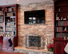 Stone Fireplaces and TVs traditional-family-room