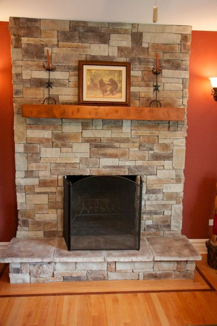 A new stone fireplace becomes the focal point of any room