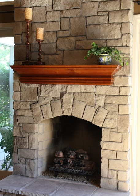 Stone Fireplaces and Wood Mantels traditional family room  Traditional Family Room