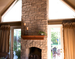 Stone Fireplaces Before & After traditional family room