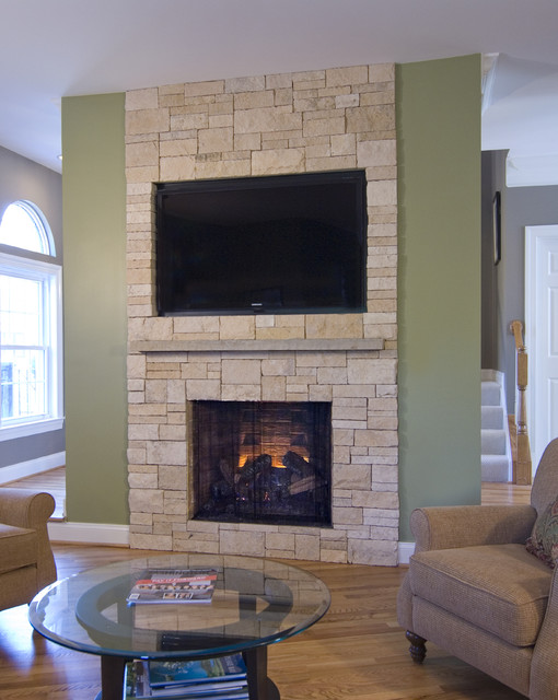 Stone Veneer Fireplace Amp Tv Niche Contemporary Family