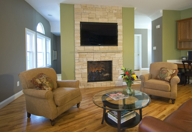 Stone Veneer Fireplace & TV Niche contemporary-family-room