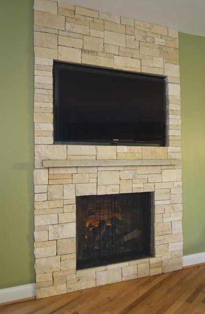 Stone Veneer Fireplace & TV Niche contemporary-family-room