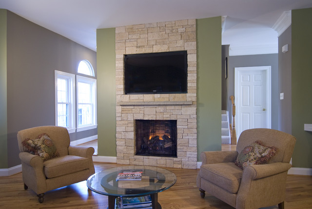 Stone Veneer Fireplace TV Niche Contemporary Family Room DC