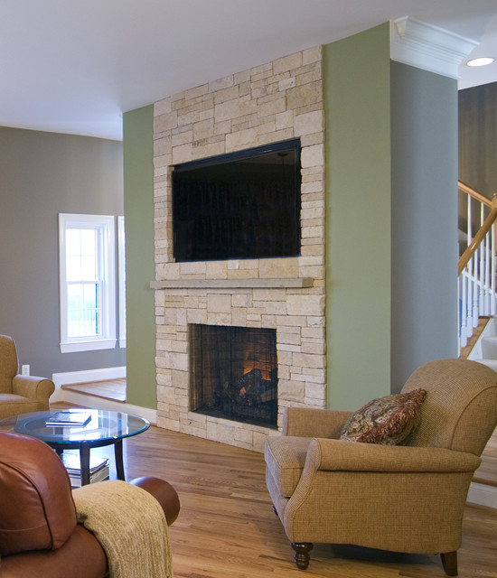 Stone Fireplace With Tv Stone veneer fireplace  amp  tv