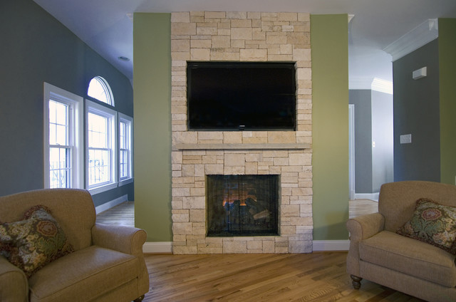Stone Veneer Fireplace & TV Niche - Contemporary - Family ...