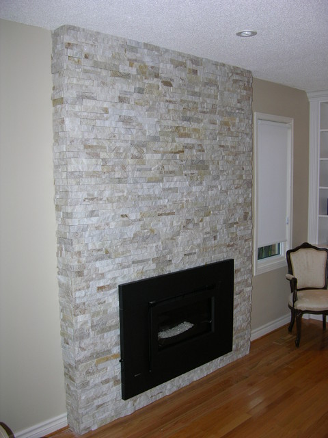 Stone Veneer Fireplace - Contemporary - Family Room - Toronto - by Caledon Tile Bath & Kitchen Centre