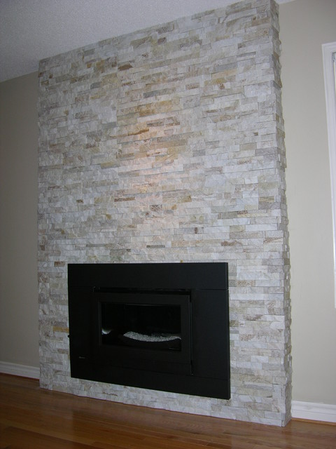 stone veneer fireplace contemporary family room - Stone Cladding Fireplace