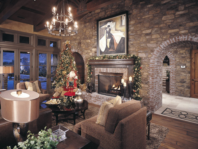 Stone wall family room traditional family room for Living room stone wall designs