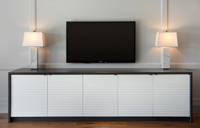 Storage Credenza With Hidden Refrigerator Contemporary Family Room