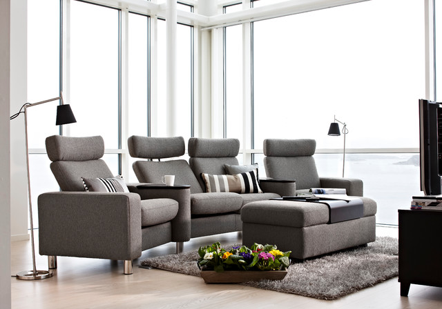 Simple living rooms - Stressless Space Home Theatre Seating Contemporary Family Room