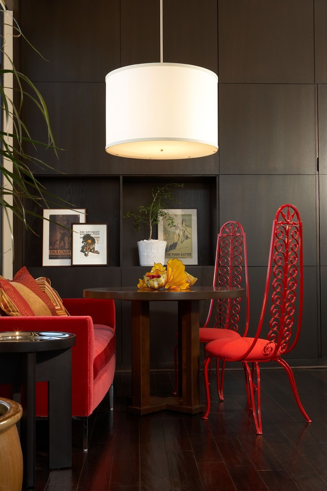 Family room - mid-sized industrial dark wood floor family room idea in Phoenix with brown walls