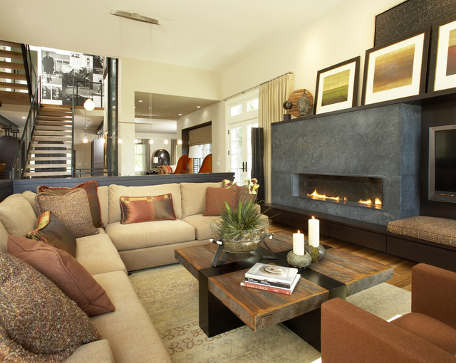 Suburban meets urban contemporary-family-room
