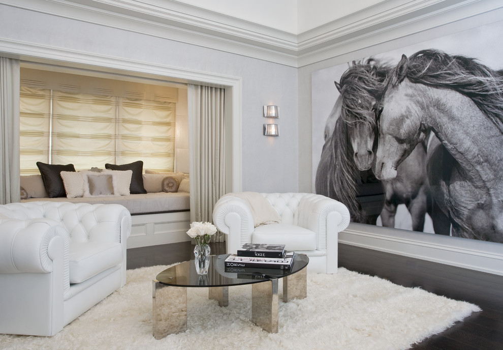 Family room - contemporary dark wood floor family room idea in New York with gray walls, no fireplace and no tv