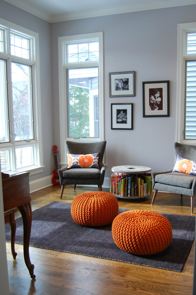 Family room - transitional family room idea in Chicago with a music area
