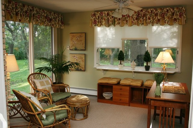 Sunroom office tropical family room minneapolis by for Sunroom office design