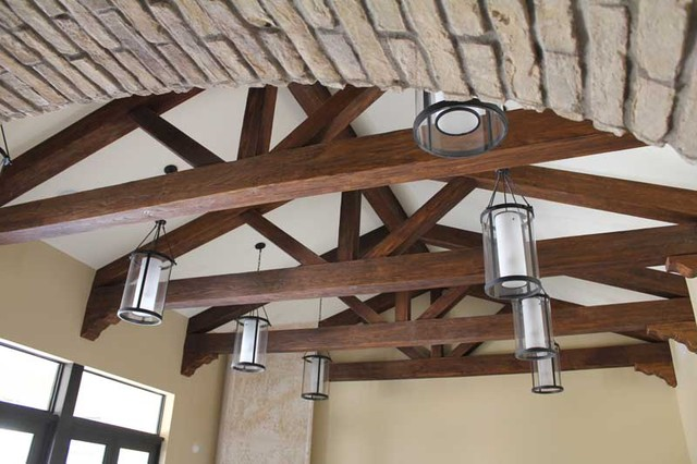 Superior Faux Wood Beams Mediterranean Family Room