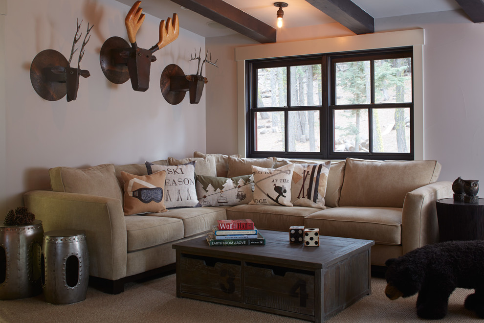 Family room - rustic carpeted family room idea in San Francisco with beige walls