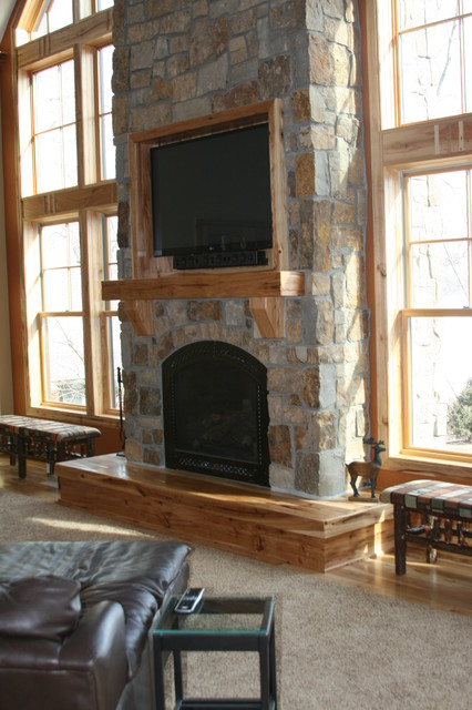 Room with Tall Stone Fireplace