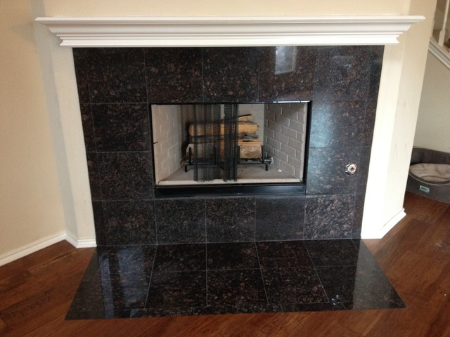 Tan Brown Granite Fireplace