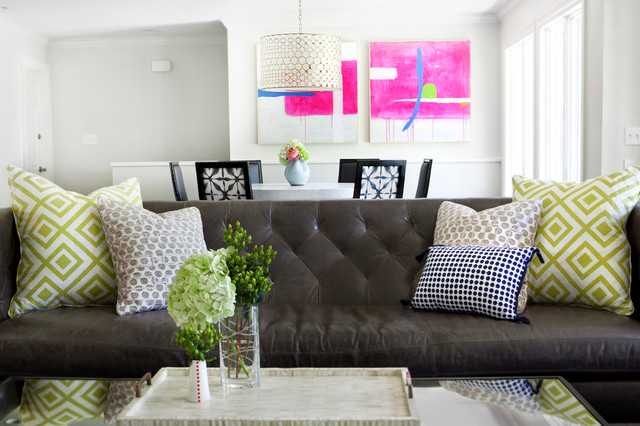 Modern brown leather couch houzz - Taylors Contemporary Family Room Austin By Sarah