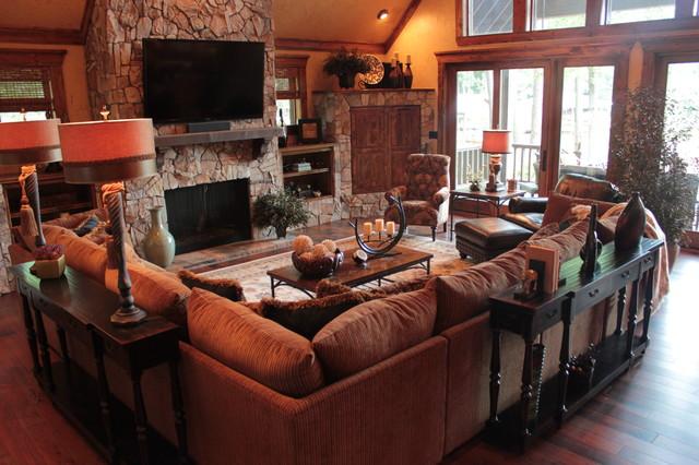 texas living room. texas lakehouse craftsman-family-room living room o