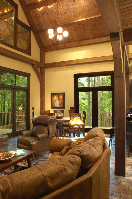 The Cottage Timber Frame Home eclectic-family-room