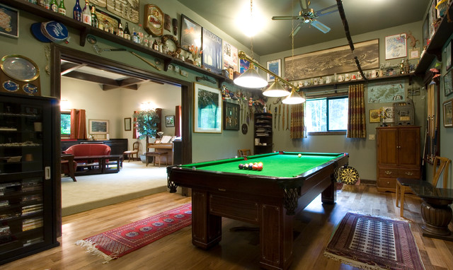 The game room portion of the completely remodeled, detached garage.  traditional-family-