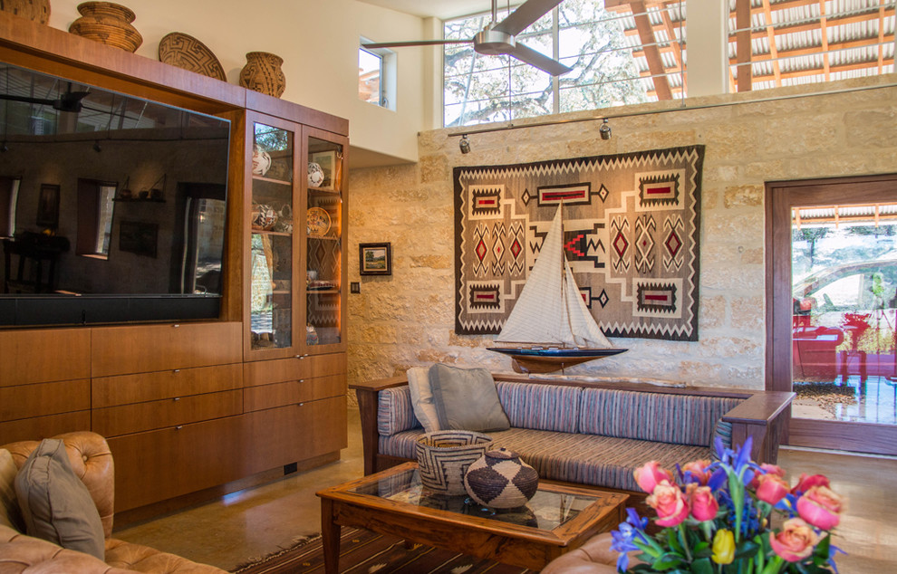 Inspiration for a contemporary family room remodel in Austin