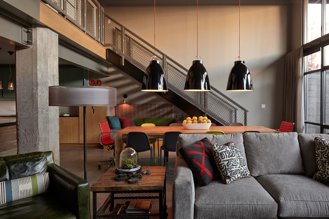 loft industrial family room kansas city by lisa schmitz interior design. Black Bedroom Furniture Sets. Home Design Ideas