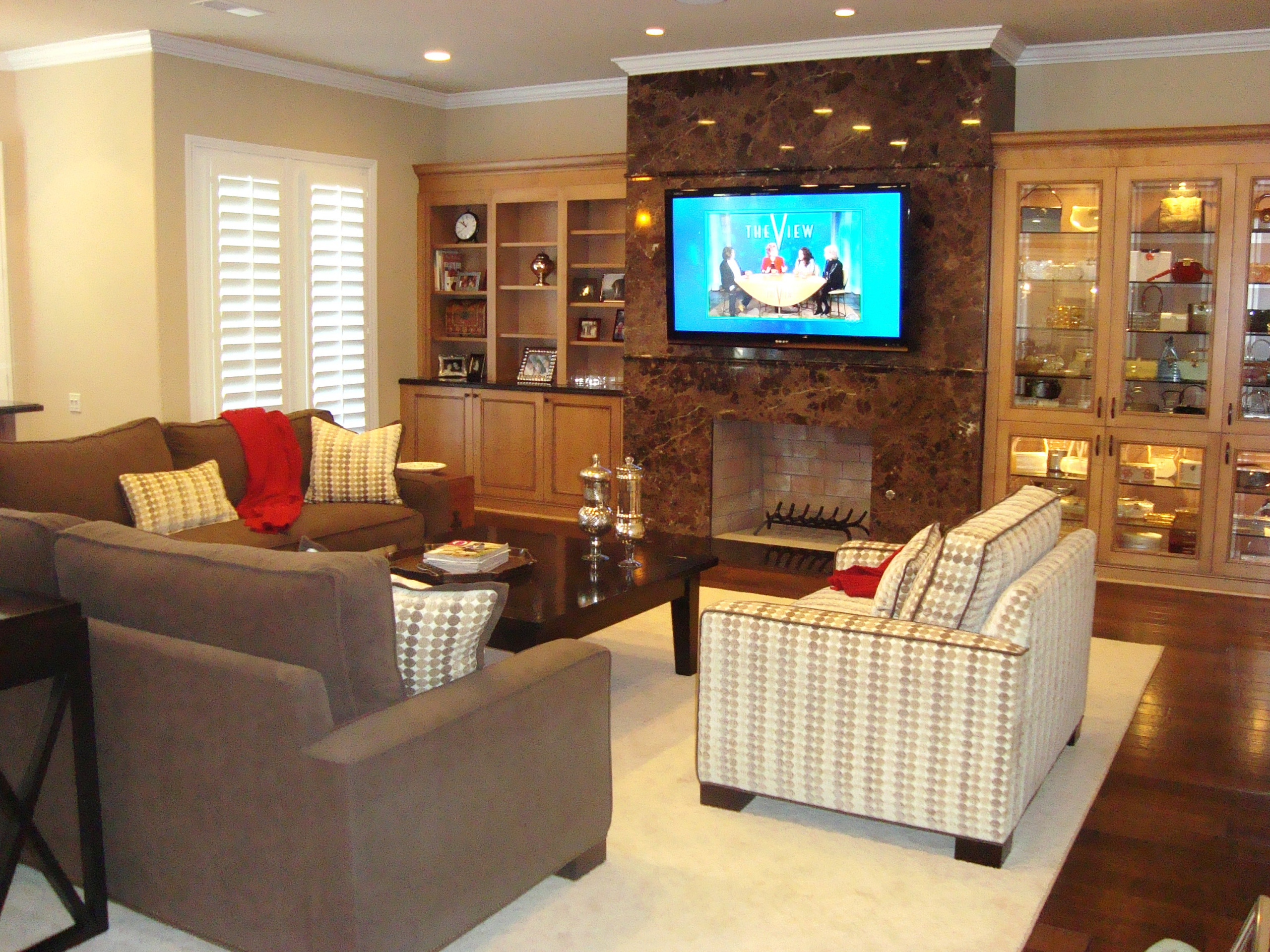 The Nolan Family Room-Brookhaven Wall Units,Granite Fireplace and Flat Screen TV