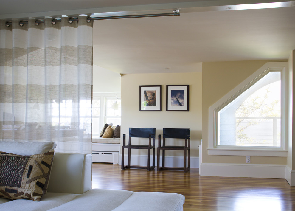 Inspiration for a coastal family room remodel in Boston