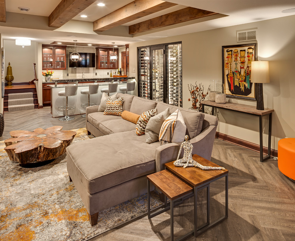 Inspiration for a large rustic open concept medium tone wood floor and beige floor family room remodel in Denver with a bar, white walls, a ribbon fireplace, a plaster fireplace and a wall-mounted tv