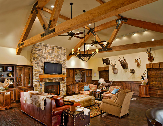 This trophy room is a real man cave traditional family room for Trophy room design