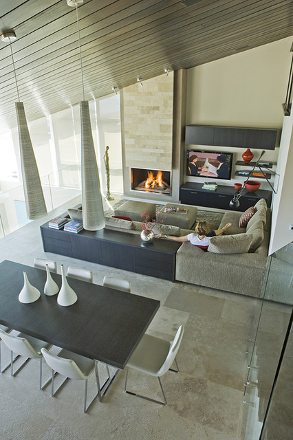 Three Arch Bay Residence - family room contemporary family room
