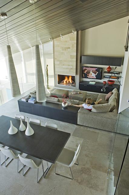 Three Arch Bay Residence - family room contemporary-family-room